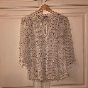 H&M ivory blouse with black polka dots